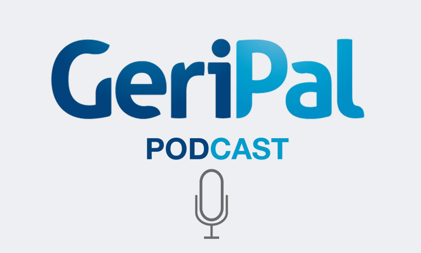 GeriPal Logo With Radio Microphone Below On Light Gray Background