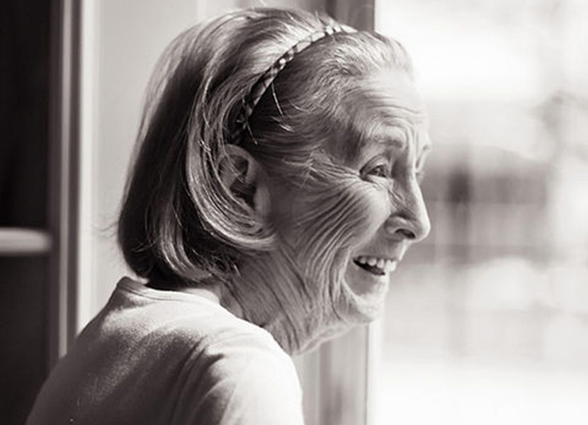 Black And White Photo Of Senior Woman Smiling