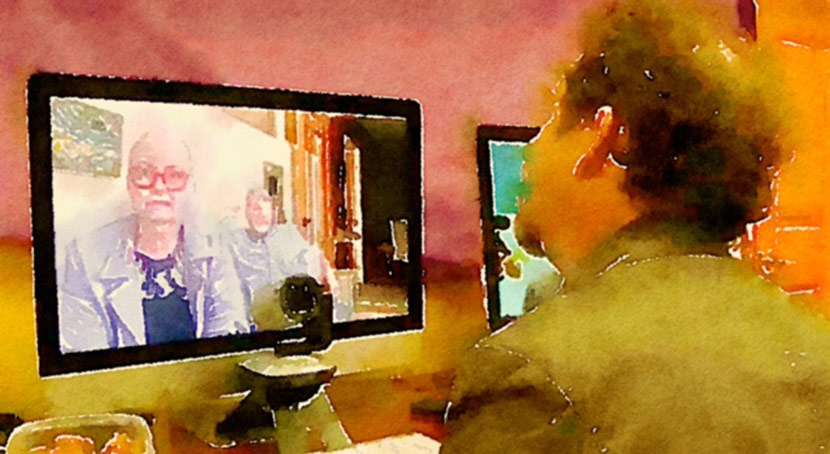 Watercolor Of Someone Doing A Video Call