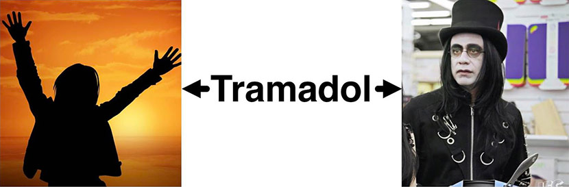 Word Tramadol Between 2 Images Of A Happy Person And A Crazed Person