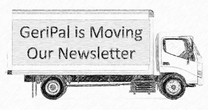 Pencil Illustration Of A Box Truck With Lettering That Says GeriPal's Newsletter Is Moving