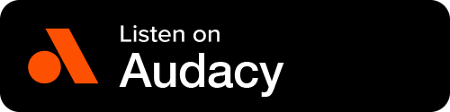 Audacy Button - Black Background With Icon And White Sans-serif Type