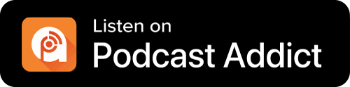 Podcast Addict Button - Black Background With Icon And White Sans-serif Type